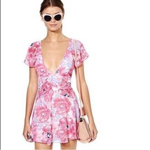 Nasty gal pink floral flutter dress size small